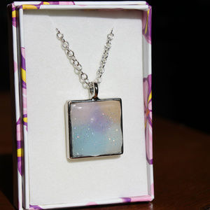 Donnakins Jewelry - Solar Color Changing Square Silver Necklace